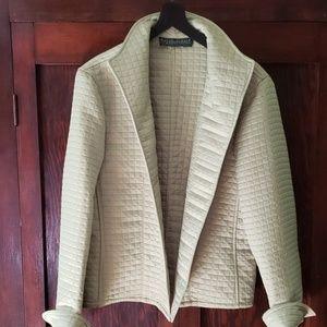 Harve Benard apple green quilted buttonless jacket